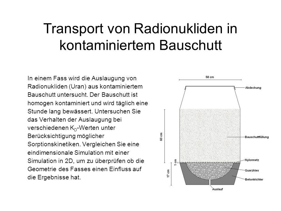 Transport von Radionukliden in kontaminiertem Bauschutt In einem Fass wird die Auslaugung von Radionukliden (Uran) aus kontaminiertem Bauschutt untersucht.
