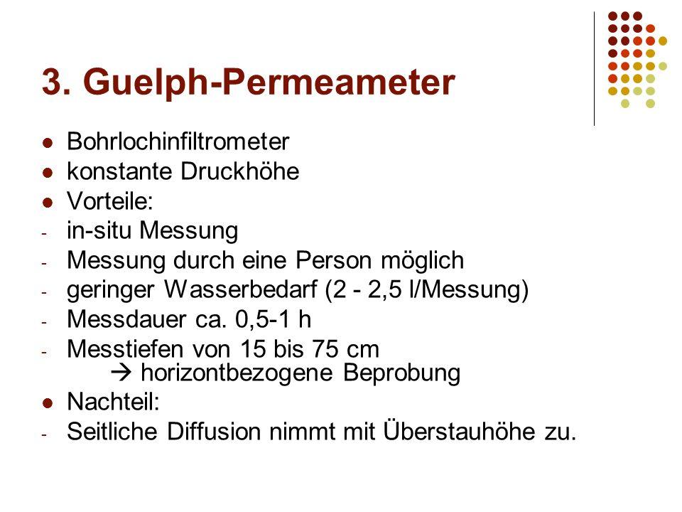 3. Guelph-Permeameter Bohrlochinfiltrometer konstante Druckhöhe Vorteile: - in-situ Messung - Messung durch eine Person möglich - geringer Wasserbedar