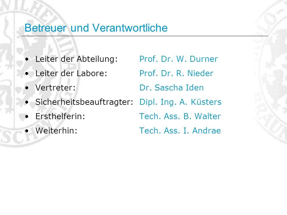 Betreuer und Verantwortliche Leiter der Abteilung:Prof. Dr. W. Durner Leiter der Labore:Prof. Dr. R. Nieder Vertreter:Dr. Sascha Iden Sicherheitsbeauf