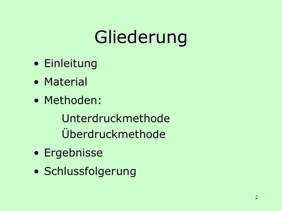 2 Gliederung Einleitung Material Methoden: Unterdruckmethode Überdruckmethode Ergebnisse Schlussfolgerung