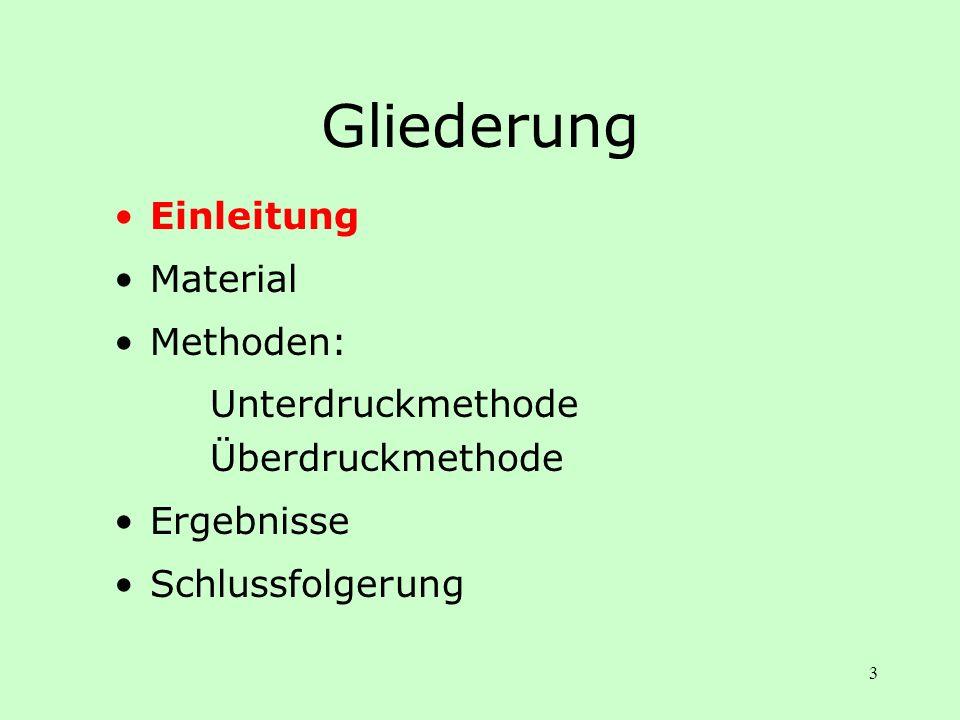 3 Gliederung Einleitung Material Methoden: Unterdruckmethode Überdruckmethode Ergebnisse Schlussfolgerung