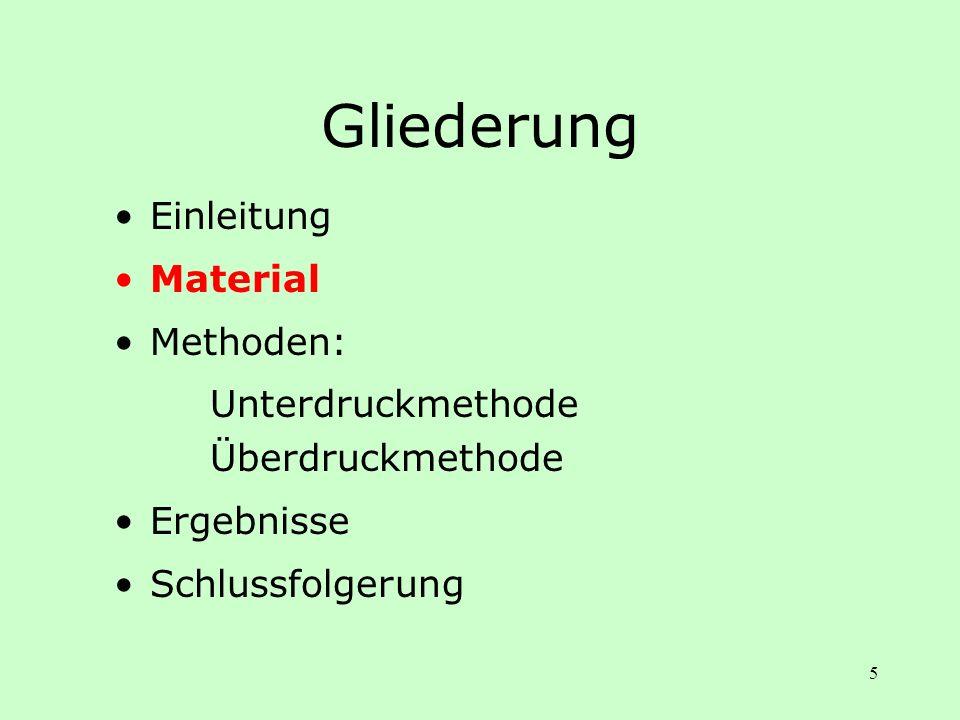 5 Gliederung Einleitung Material Methoden: Unterdruckmethode Überdruckmethode Ergebnisse Schlussfolgerung