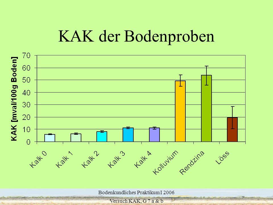 14 KAK der Bodenproben Bodenkundliches Praktikum I 2006 Versuch KAK, G 7 a & b