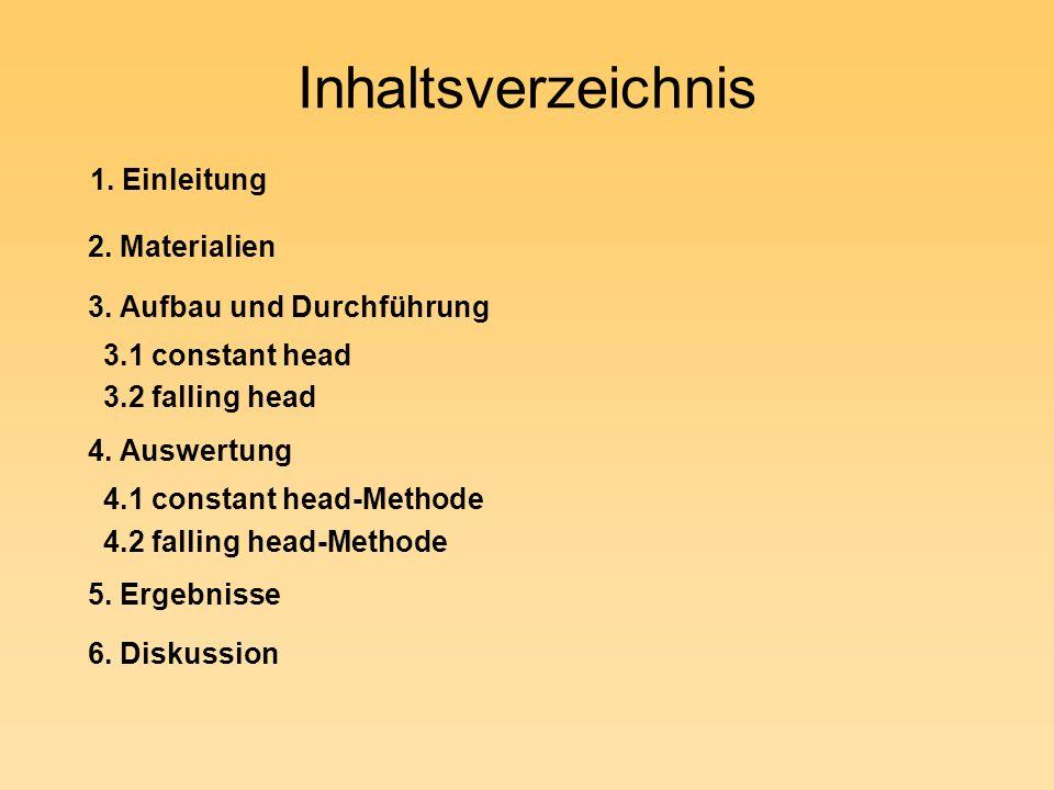 Inhaltsverzeichnis 1. Einleitung 2. Materialien 3. Aufbau und Durchführung 3.1 constant head 3.2 falling head 4. Auswertung 4.1 constant head-Methode