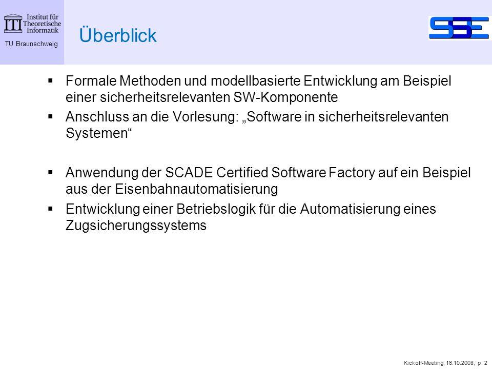 TU Braunschweig Kickoff-Meeting, 16.10.2008, p. 2 Überblick Formale Methoden und modellbasierte Entwicklung am Beispiel einer sicherheitsrelevanten SW