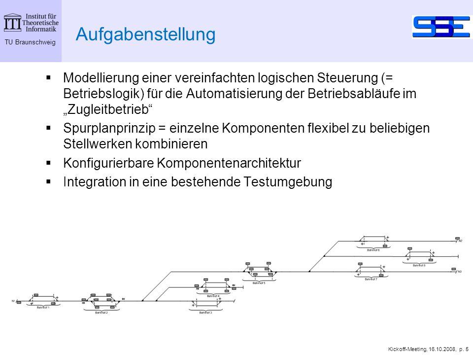 TU Braunschweig Kickoff-Meeting, 16.10.2008, p. 5 Aufgabenstellung Modellierung einer vereinfachten logischen Steuerung (= Betriebslogik) für die Auto