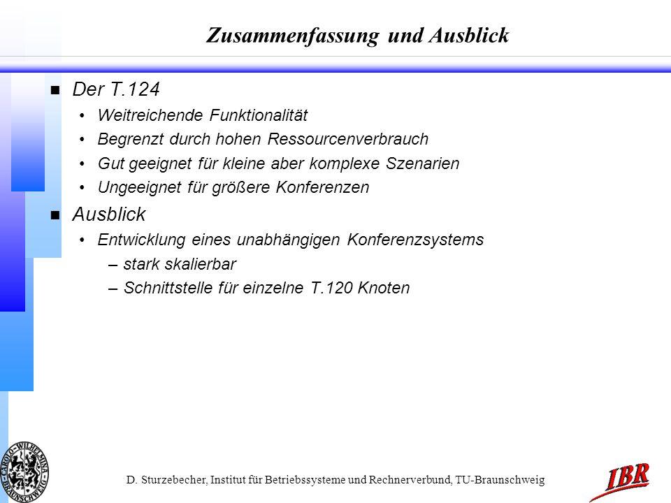 D. Sturzebecher, Institut für Betriebssysteme und Rechnerverbund, TU-Braunschweig Zusammenfassung und Ausblick n Der T.124 Weitreichende Funktionalitä