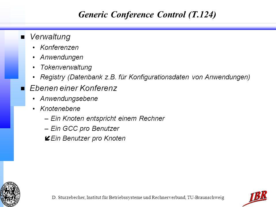 D. Sturzebecher, Institut für Betriebssysteme und Rechnerverbund, TU-Braunschweig Generic Conference Control (T.124) n Verwaltung Konferenzen Anwendun