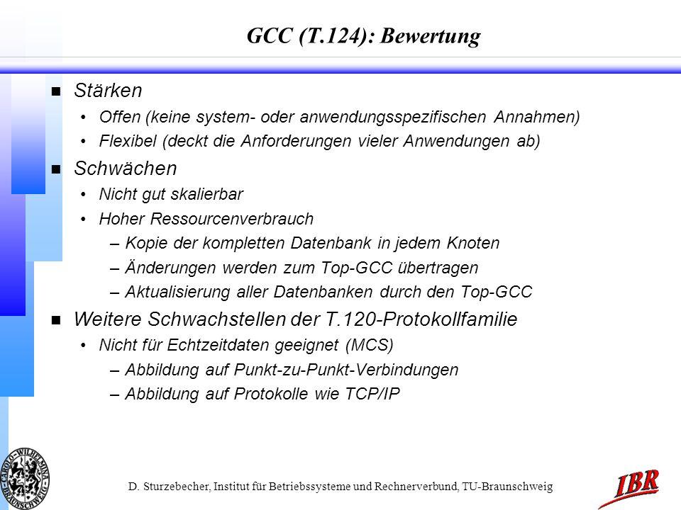 D. Sturzebecher, Institut für Betriebssysteme und Rechnerverbund, TU-Braunschweig GCC (T.124): Bewertung n Stärken Offen (keine system- oder anwendung
