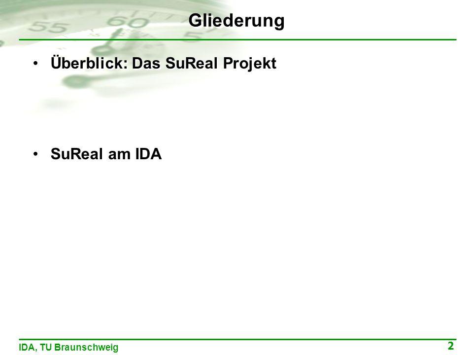 2 IDA, TU Braunschweig Gliederung Überblick: Das SuReal Projekt SuReal am IDA Überblick: Das SuReal Projekt SuReal am IDA