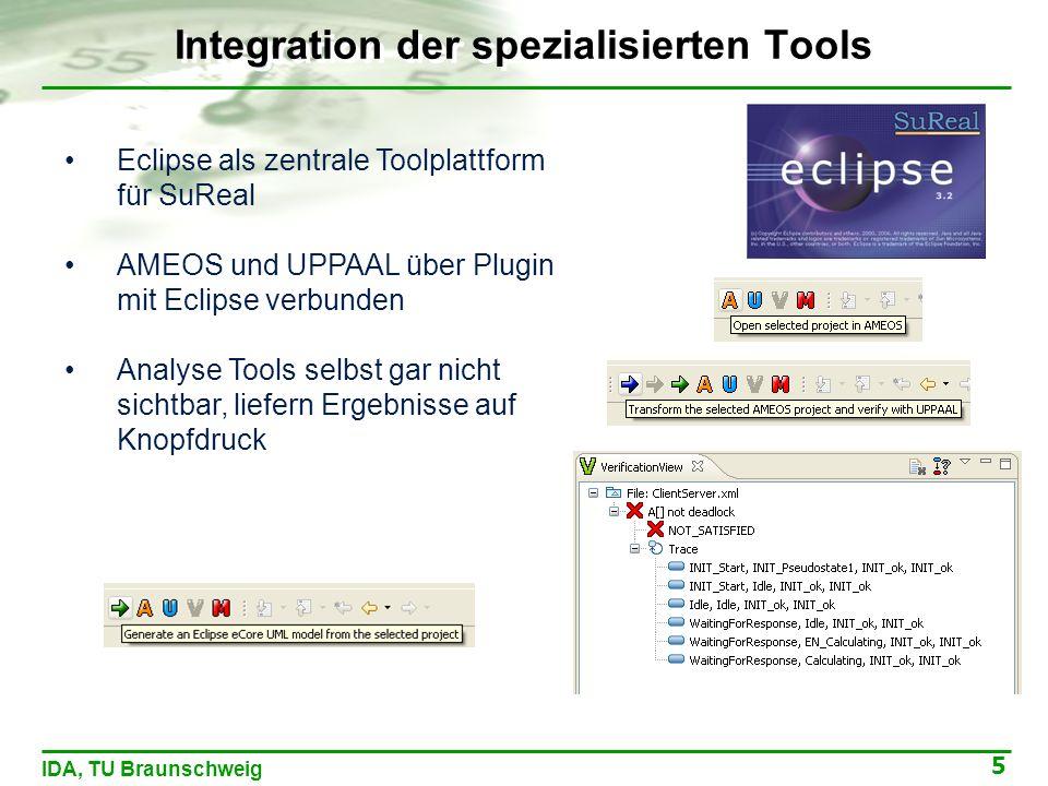 5 IDA, TU Braunschweig Integration der spezialisierten Tools Eclipse als zentrale Toolplattform für SuReal AMEOS und UPPAAL über Plugin mit Eclipse verbunden Analyse Tools selbst gar nicht sichtbar, liefern Ergebnisse auf Knopfdruck