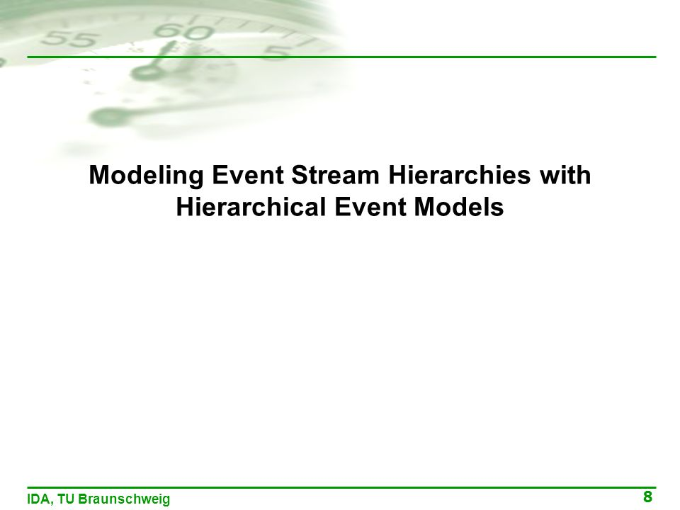 8 IDA, TU Braunschweig Modeling Event Stream Hierarchies with Hierarchical Event Models