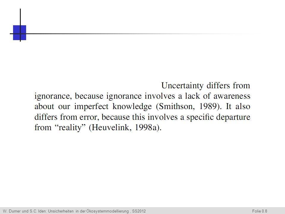 W. Durner und S.C. Iden: Unsicherheiten in der Ökosystemmodellierung, SS2012 Folie 0.9