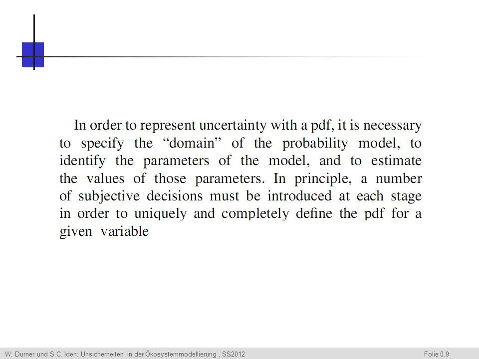 W. Durner und S.C. Iden: Unsicherheiten in der Ökosystemmodellierung, SS2012 Folie 0.40 Ende