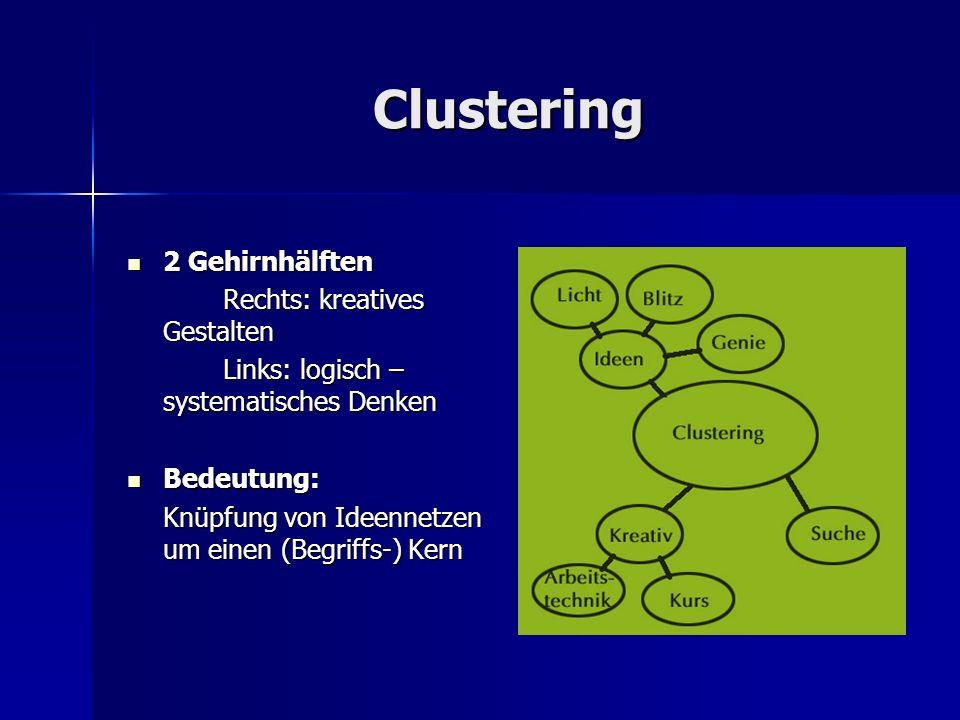 Clustering 2 Gehirnhälften 2 Gehirnhälften Rechts: kreatives Gestalten Links: logisch – systematisches Denken Bedeutung: Bedeutung: Knüpfung von Ideen