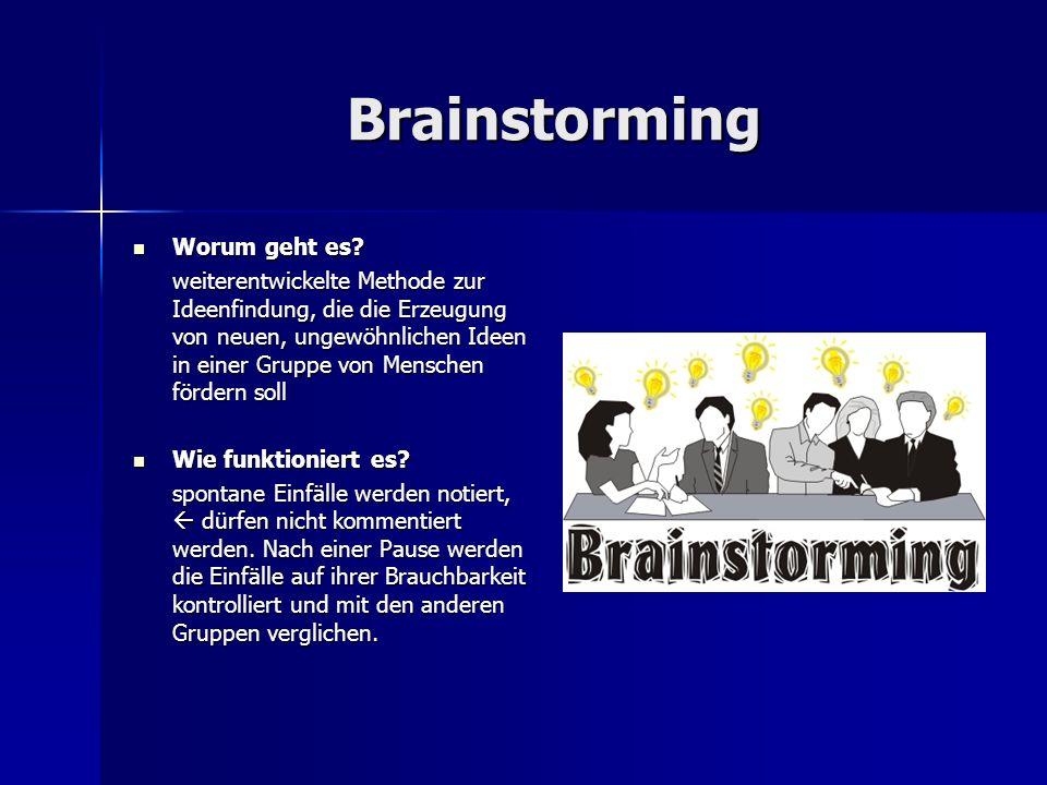 Brainstorming Worum geht es? Worum geht es? weiterentwickelte Methode zur Ideenfindung, die die Erzeugung von neuen, ungewöhnlichen Ideen in einer Gru