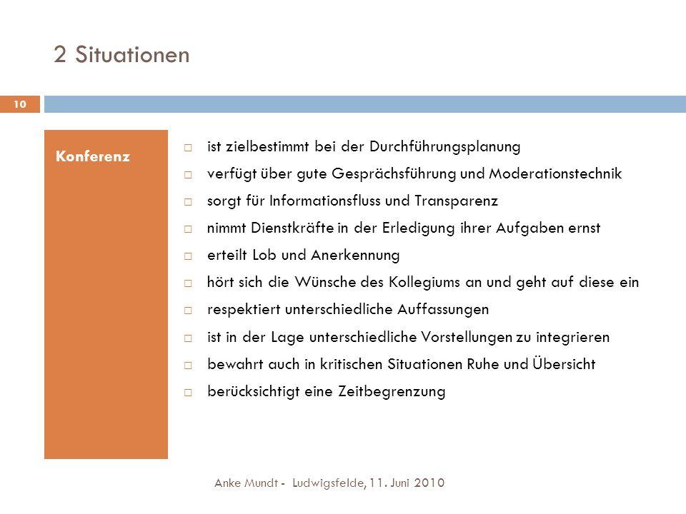 2 Situationen Anke Mundt - Ludwigsfelde, 11. Juni 2010 10 Konferenz ist zielbestimmt bei der Durchführungsplanung verfügt über gute Gesprächsführung u