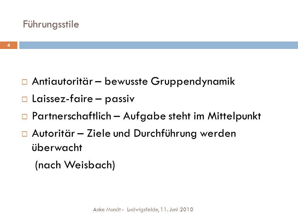 Führungsstile Anke Mundt - Ludwigsfelde, 11. Juni 2010 4 Antiautoritär – bewusste Gruppendynamik Laissez-faire – passiv Partnerschaftlich – Aufgabe st