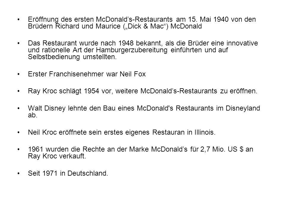 Eröffnung des ersten McDonalds-Restaurants am 15. Mai 1940 von den Brüdern Richard und Maurice (Dick & Mac) McDonald Das Restaurant wurde nach 1948 be