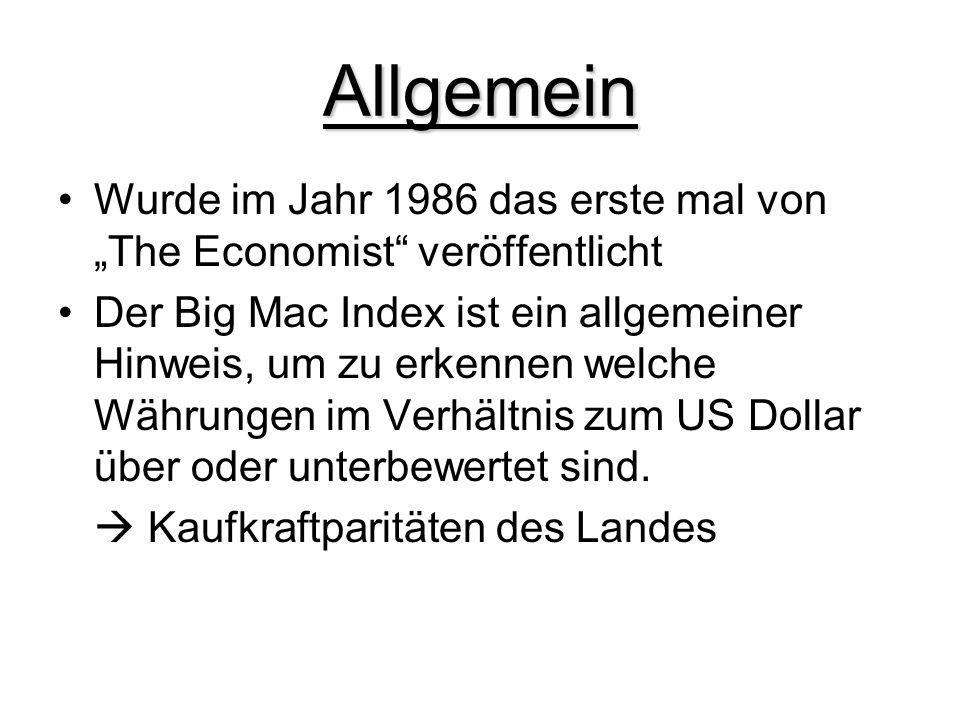 Allgemein Wurde im Jahr 1986 das erste mal von The Economist veröffentlicht Der Big Mac Index ist ein allgemeiner Hinweis, um zu erkennen welche Währu