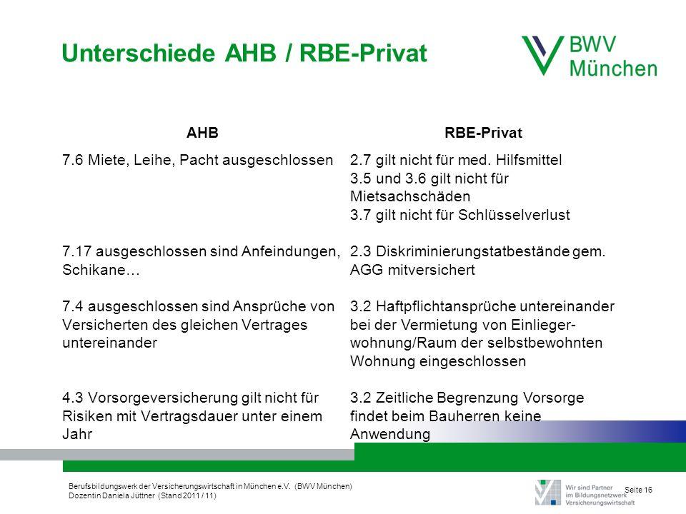 Berufsbildungswerk der Versicherungswirtschaft in München e.V. (BWV München) Dozentin Daniela Jüttner (Stand 2011 / 11) Seite 16 Unterschiede AHB / RB