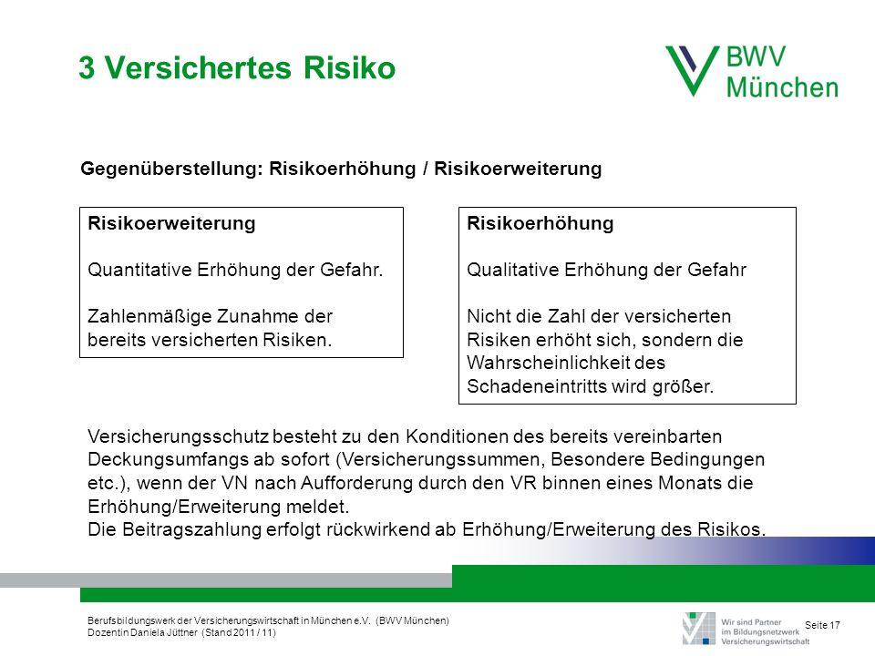 Berufsbildungswerk der Versicherungswirtschaft in München e.V. (BWV München) Dozentin Daniela Jüttner (Stand 2011 / 11) Seite 17 3 Versichertes Risiko