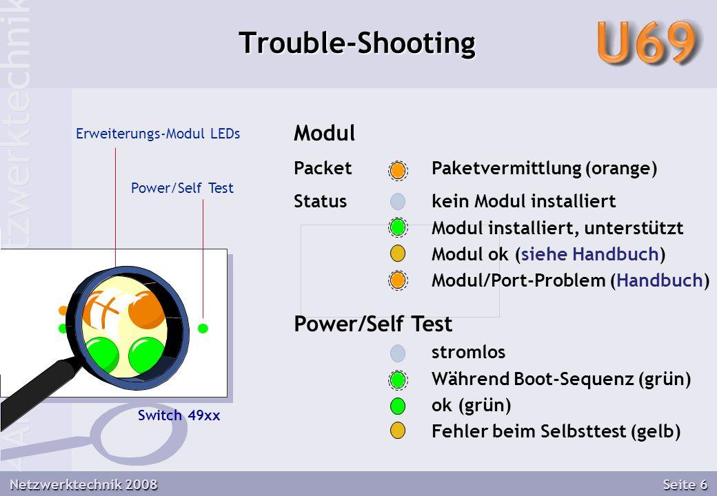 4AHITN - Netzwerktechnik Netzwerktechnik 2008 Seite 6 Trouble-Shooting Erweiterungs-Modul LEDs Switch 49xx Modul PacketPaketvermittlung (orange) Statuskein Modul installiert Modul installiert, unterstützt Modul ok (siehe Handbuch) Modul/Port-Problem (Handbuch) Power/Self Test stromlos Während Boot-Sequenz (grün) ok (grün) Fehler beim Selbsttest (gelb) Power/Self Test