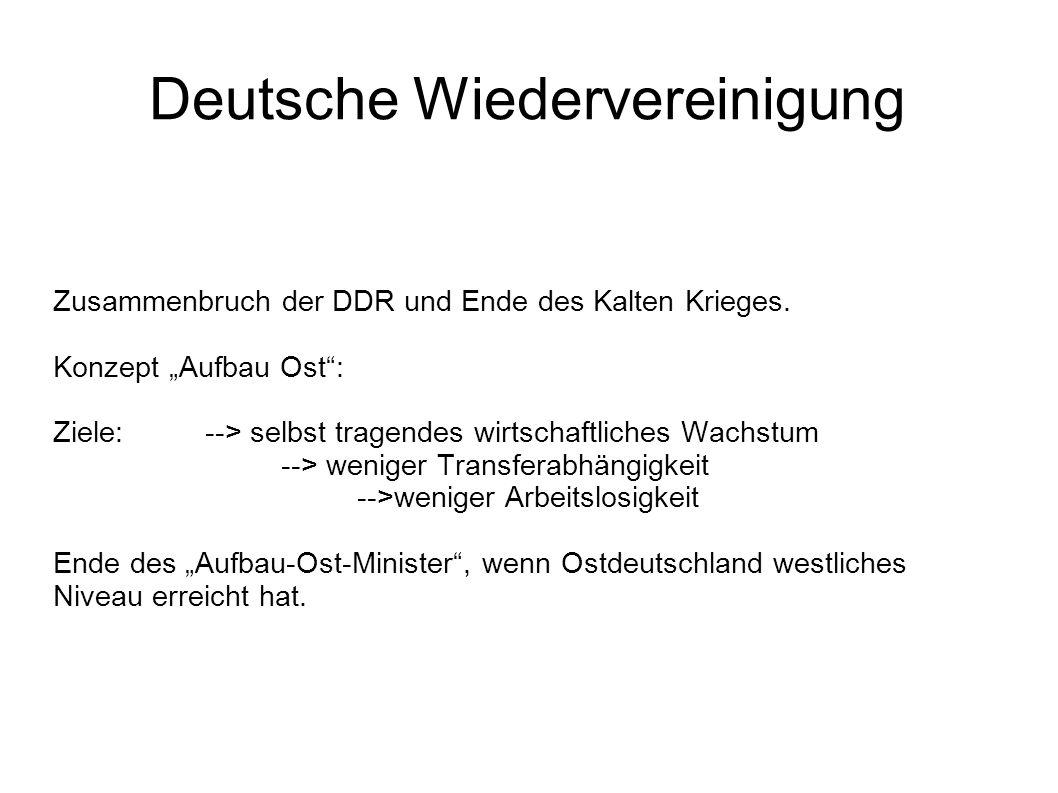 Deutsche Wiedervereinigung Zusammenbruch der DDR und Ende des Kalten Krieges. Konzept Aufbau Ost: Ziele: --> selbst tragendes wirtschaftliches Wachstu