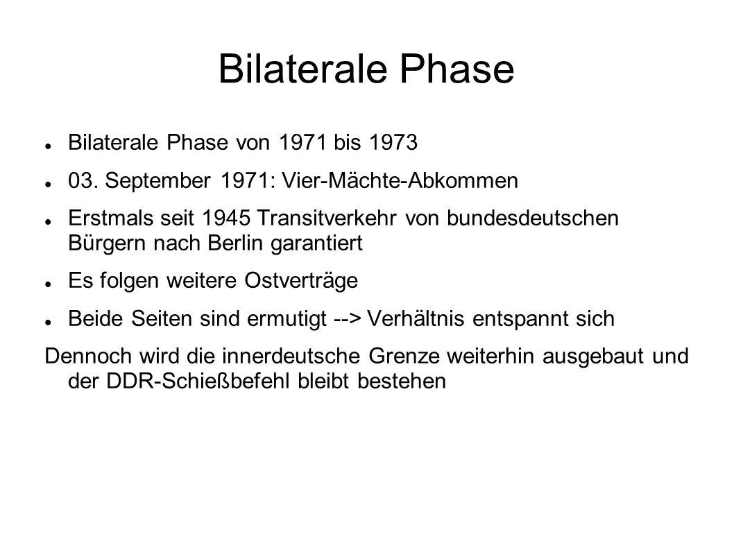 Bilaterale Phase Bilaterale Phase von 1971 bis 1973 03. September 1971: Vier-Mächte-Abkommen Erstmals seit 1945 Transitverkehr von bundesdeutschen Bür