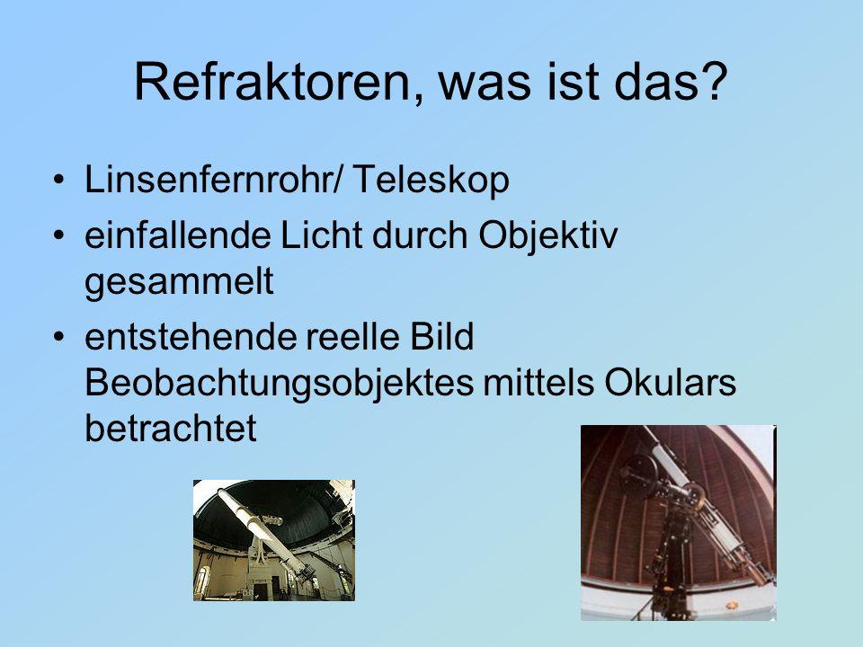 Refraktoren, was ist das? Linsenfernrohr/ Teleskop einfallende Licht durch Objektiv gesammelt entstehende reelle Bild Beobachtungsobjektes mittels Oku
