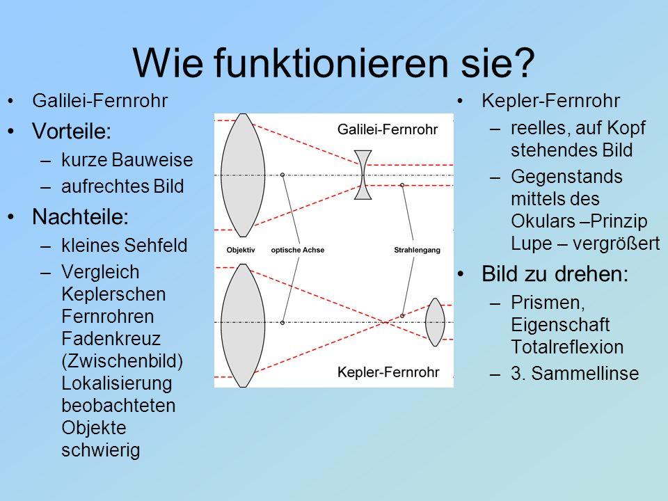 Wie funktionieren sie? Galilei-Fernrohr Vorteile: –k–kurze Bauweise –a–aufrechtes Bild Nachteile: –k–kleines Sehfeld –V–Vergleich Keplerschen Fernrohr