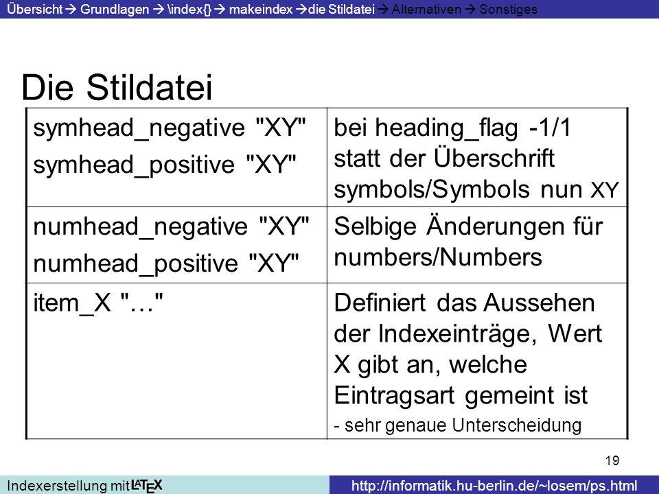 19 Die Stildatei Indexerstellung mithttp://informatik.hu-berlin.de/~losem/ps.html Übersicht Grundlagen \index{} makeindex die Stildatei Alternativen S