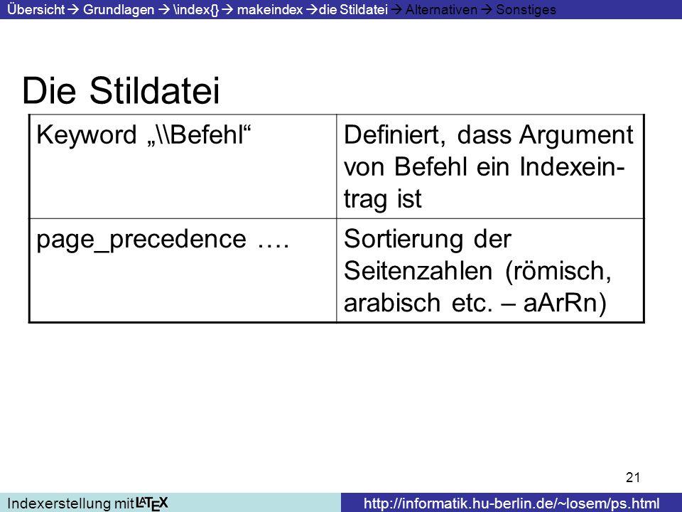 21 Die Stildatei Indexerstellung mithttp://informatik.hu-berlin.de/~losem/ps.html Übersicht Grundlagen \index{} makeindex die Stildatei Alternativen S
