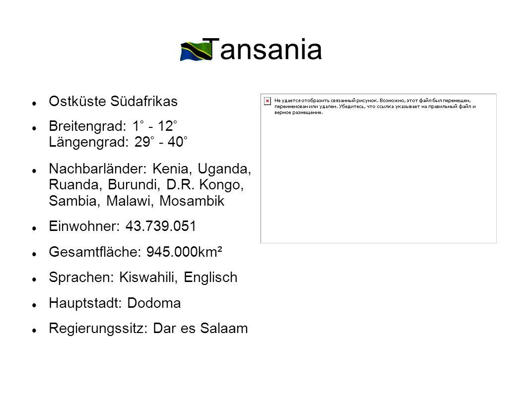 Tansania Ostküste Südafrikas Breitengrad: 1° - 12° Längengrad: 29° - 40° Nachbarländer: Kenia, Uganda, Ruanda, Burundi, D.R. Kongo, Sambia, Malawi, Mo