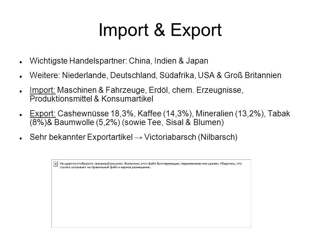 Import & Export Wichtigste Handelspartner: China, Indien & Japan Weitere: Niederlande, Deutschland, Südafrika, USA & Groß Britannien Import: Maschinen