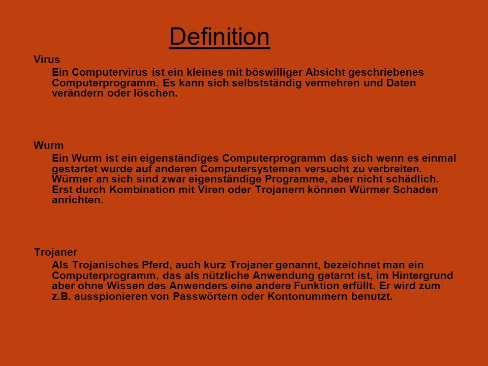 Definition Virus Ein Computervirus ist ein kleines mit böswilliger Absicht geschriebenes Computerprogramm. Es kann sich selbstständig vermehren und Da