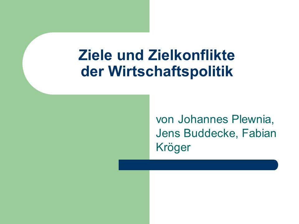 Ziele und Zielkonflikte der Wirtschaftspolitik von Johannes Plewnia, Jens Buddecke, Fabian Kröger