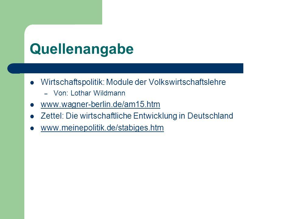 Quellenangabe Wirtschaftspolitik: Module der Volkswirtschaftslehre – Von: Lothar Wildmann www.wagner-berlin.de/am15.htm Zettel: Die wirtschaftliche En