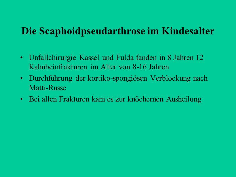 Die Scaphoidpseudarthrose im Kindesalter Unfallchirurgie Kassel und Fulda fanden in 8 Jahren 12 Kahnbeinfrakturen im Alter von 8-16 Jahren Durchführun