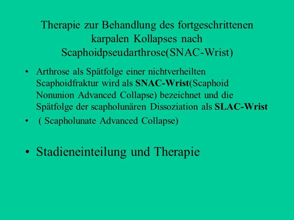 Therapie zur Behandlung des fortgeschrittenen karpalen Kollapses nach Scaphoidpseudarthrose(SNAC-Wrist) Arthrose als Spätfolge einer nichtverheilten S