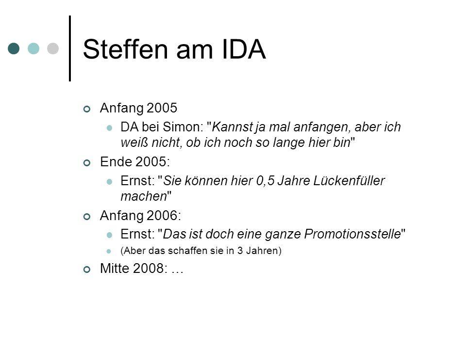 Steffen am IDA Anfang 2005 DA bei Simon: Kannst ja mal anfangen, aber ich weiß nicht, ob ich noch so lange hier bin Ende 2005: Ernst: Sie können hier 0,5 Jahre Lückenfüller machen Anfang 2006: Ernst: Das ist doch eine ganze Promotionsstelle (Aber das schaffen sie in 3 Jahren) Mitte 2008: …