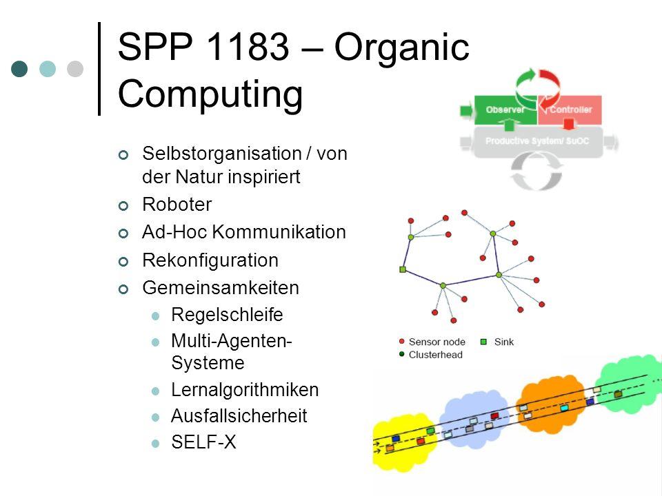 SPP 1183 – Organic Computing Selbstorganisation / von der Natur inspiriert Roboter Ad-Hoc Kommunikation Rekonfiguration Gemeinsamkeiten Regelschleife Multi-Agenten- Systeme Lernalgorithmiken Ausfallsicherheit SELF-X