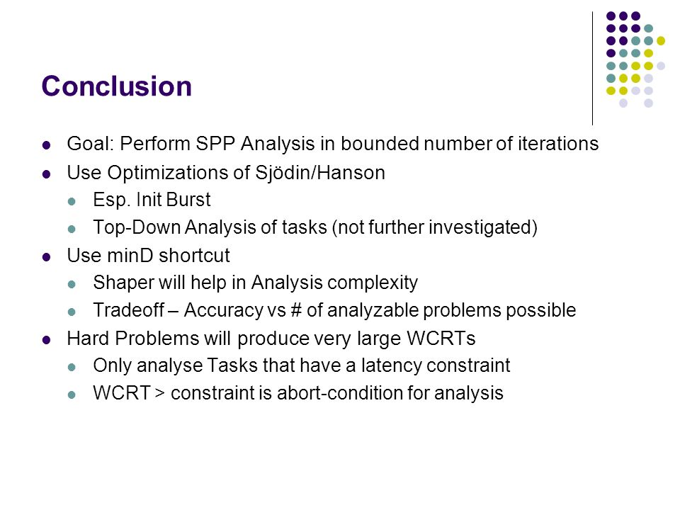 Conclusion Goal: Perform SPP Analysis in bounded number of iterations Use Optimizations of Sjödin/Hanson Esp. Init Burst Top-Down Analysis of tasks (n