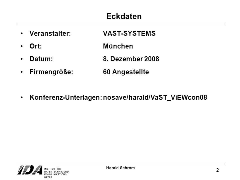 INSTITUT FÜR DATENTECHNIK UND KOMMUNIKATIONS- NETZE 2 Harald Schrom Eckdaten Veranstalter:VAST-SYSTEMS Ort:München Datum:8.