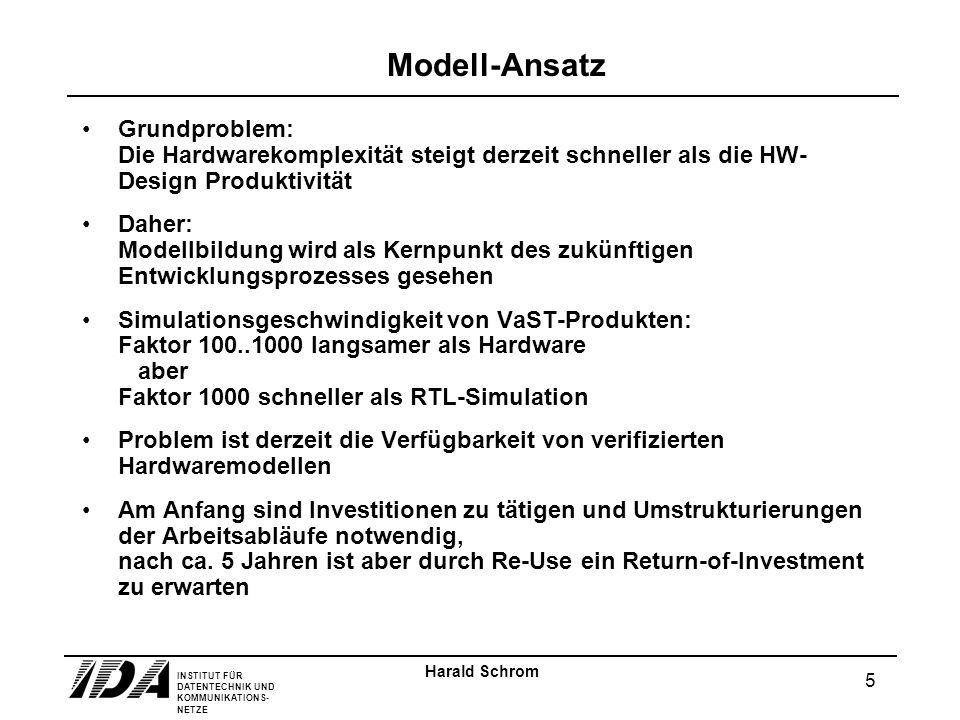 INSTITUT FÜR DATENTECHNIK UND KOMMUNIKATIONS- NETZE 5 Harald Schrom Modell-Ansatz Grundproblem: Die Hardwarekomplexität steigt derzeit schneller als d