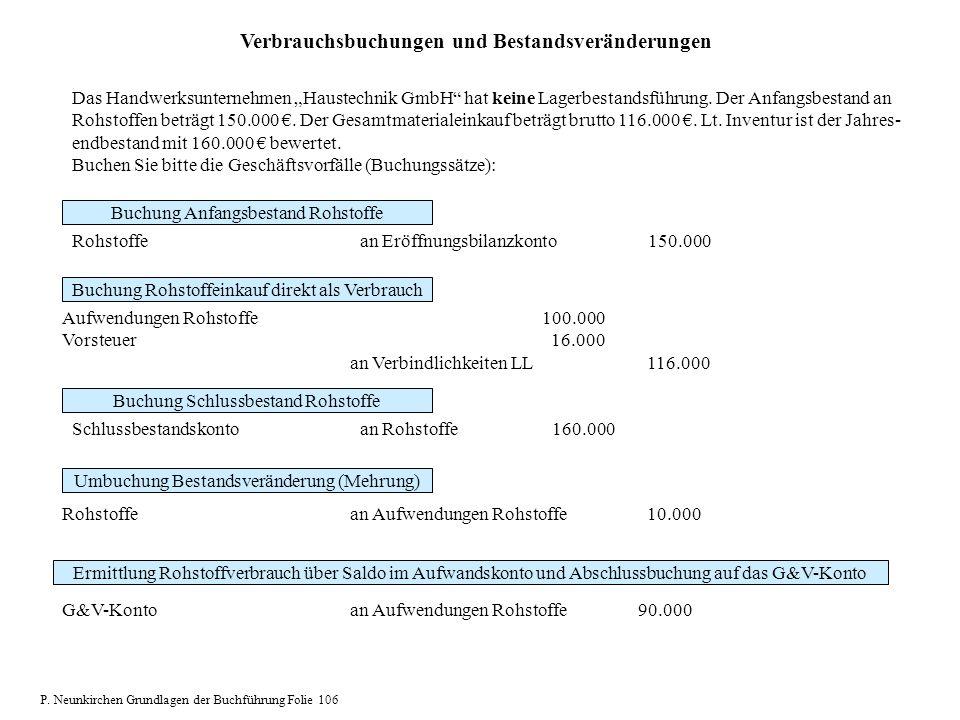 Verbrauchsbuchungen und Bestandsveränderungen Das Handwerksunternehmen Haustechnik GmbH hat keine Lagerbestandsführung. Der Anfangsbestand an Rohstoff