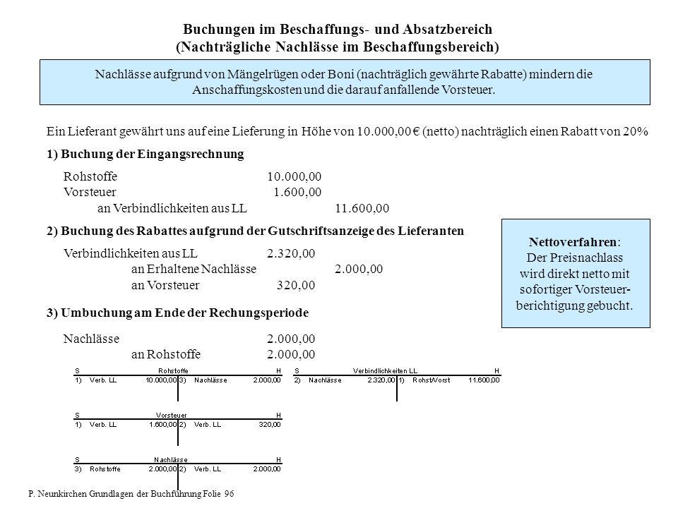 Buchungen im Beschaffungs- und Absatzbereich (Nachträgliche Nachlässe im Beschaffungsbereich) Nachlässe aufgrund von Mängelrügen oder Boni (nachträgli