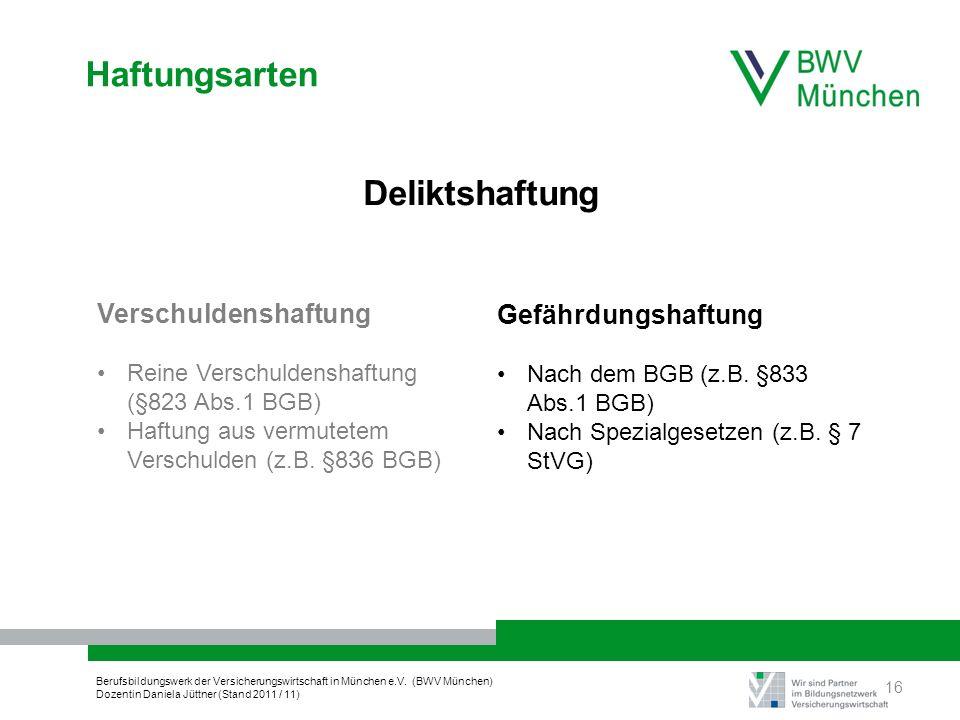 Berufsbildungswerk der Versicherungswirtschaft in München e.V. (BWV München) Dozentin Daniela Jüttner (Stand 2011 / 11) Haftungsarten Deliktshaftung V