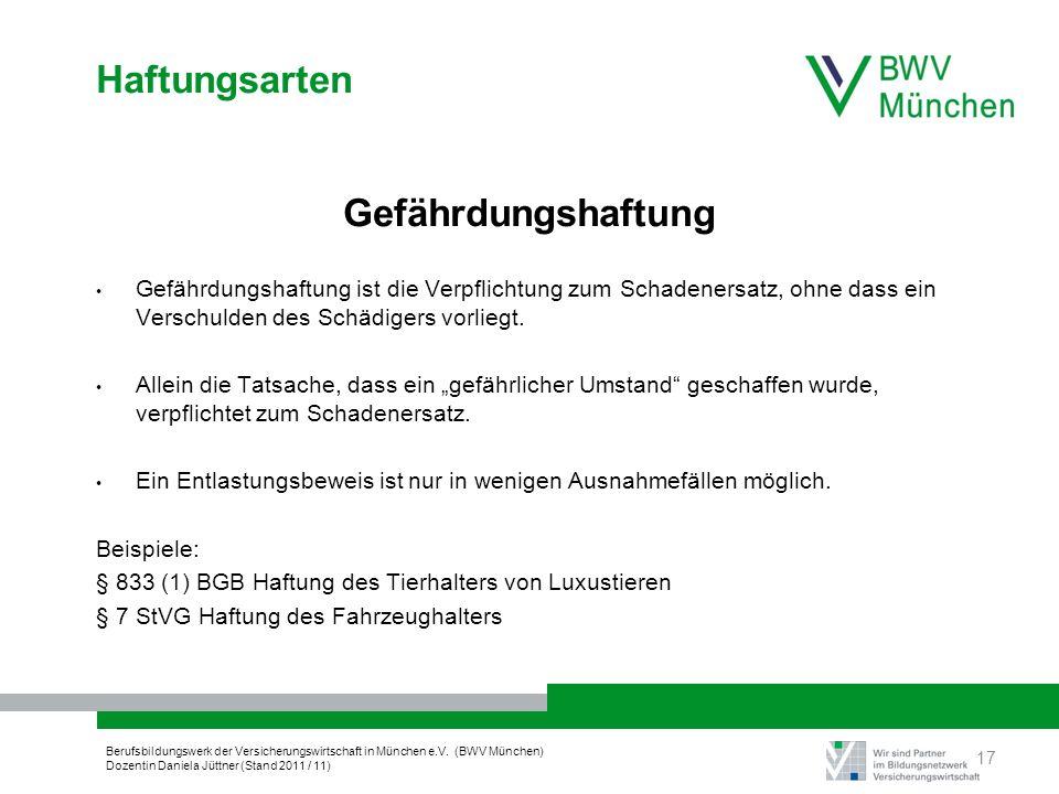 Berufsbildungswerk der Versicherungswirtschaft in München e.V. (BWV München) Dozentin Daniela Jüttner (Stand 2011 / 11) Haftungsarten Gefährdungshaftu