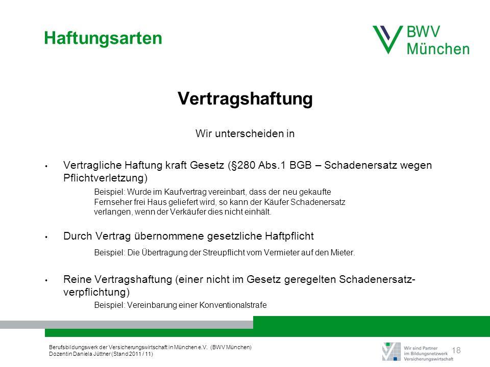 Berufsbildungswerk der Versicherungswirtschaft in München e.V. (BWV München) Dozentin Daniela Jüttner (Stand 2011 / 11) Haftungsarten Vertragshaftung